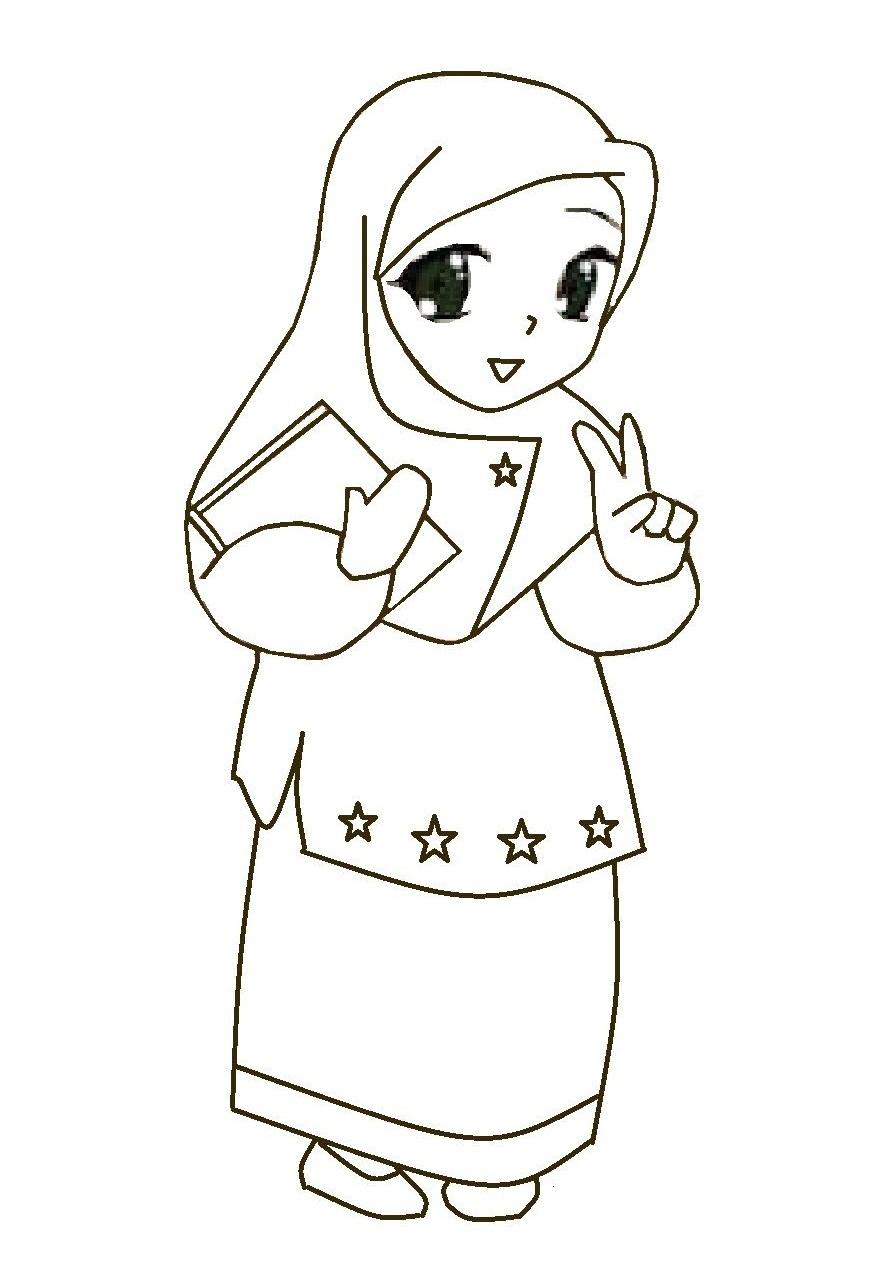 Mewarnai Gambar Kartun Muslimah Comel  Azhanco