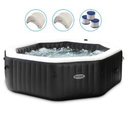 spa intex pure spa carbone bulles et jets 6 places octogonal