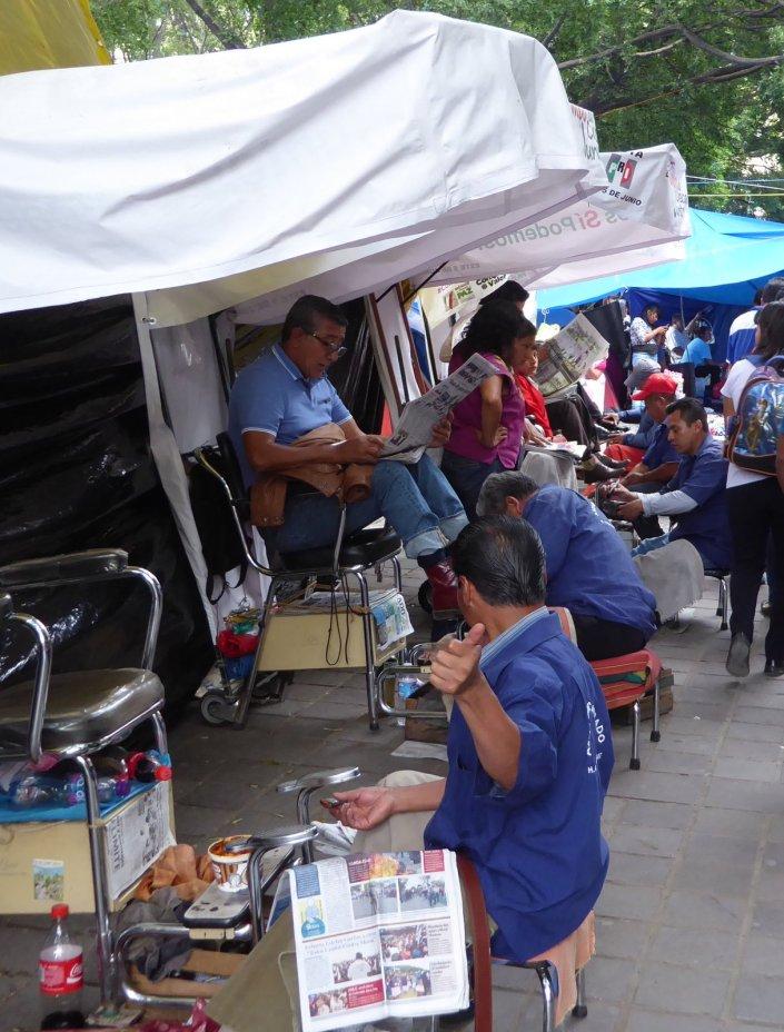 Geen smerige schoenen te vinden in Oaxaca.