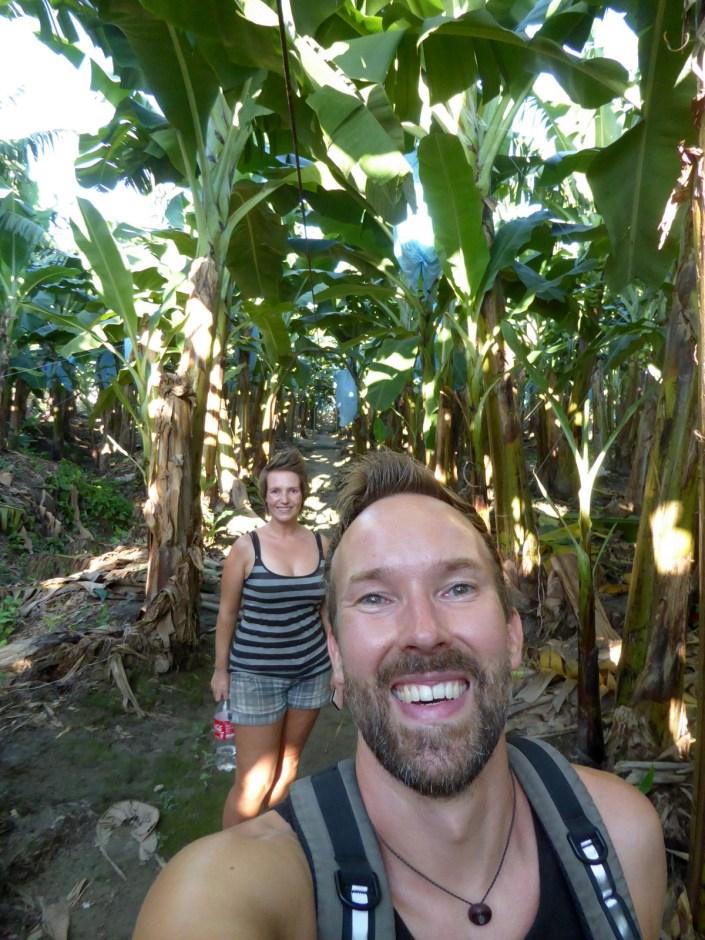Hep'ie us op de bananenplantage. Quiriguá