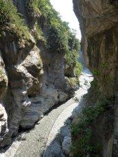 De marmeren wanden van de Taroko gorge.