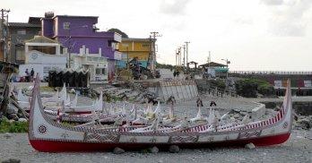Traditionale vissersboten van de Tao aboriginals. Lanyu island