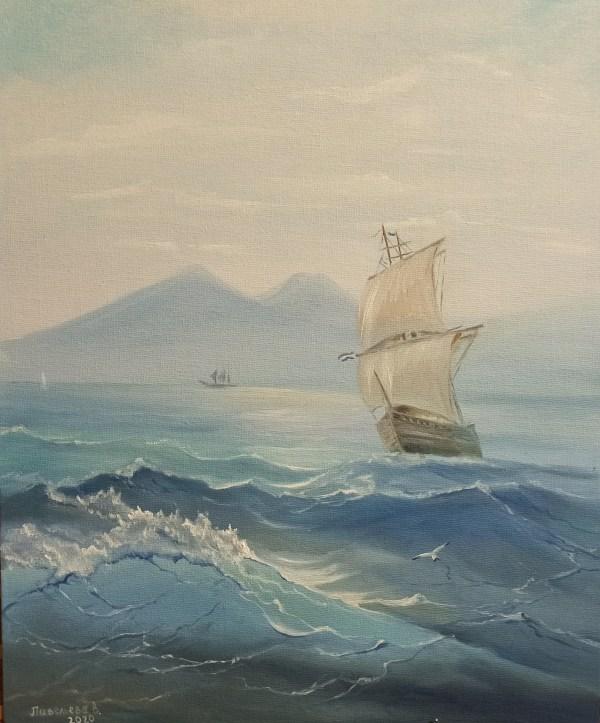 Картина с морем и кораблем купить