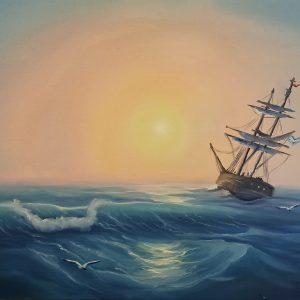 Закат море картина купить