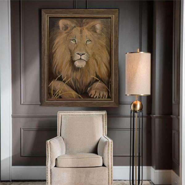 Картина льва в интерьере
