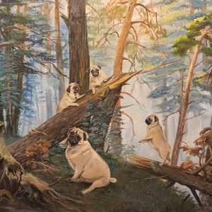 Картина Мопсы в лесу