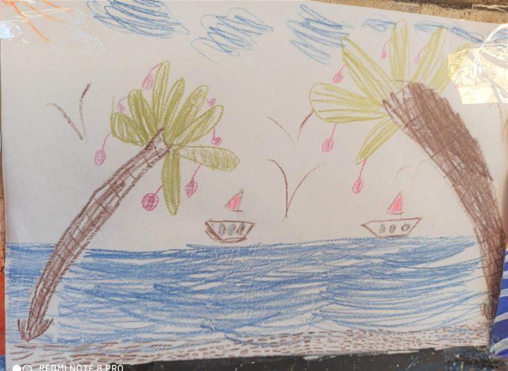 Море и Пальмы. Детский рисунок. Геленджик