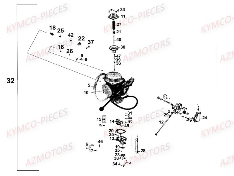 CARBURATEUR vue eclate Pièces MXU 500 CARBU 2X4/4X4 4T