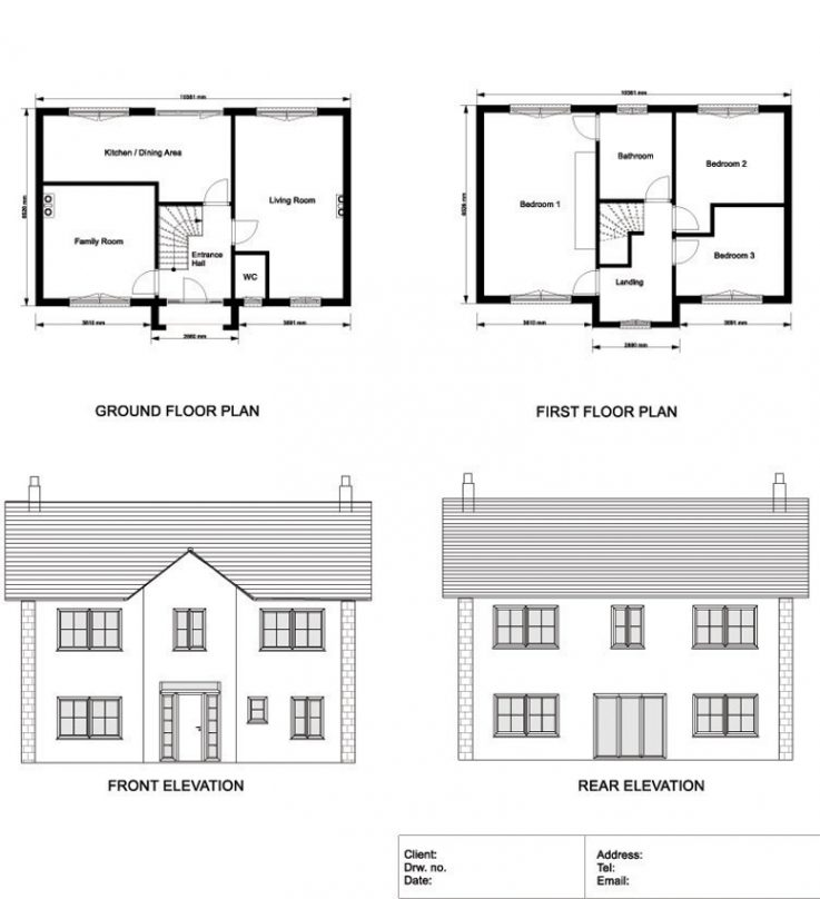 Ground Floor And First Floor Plan Elevations And Sections