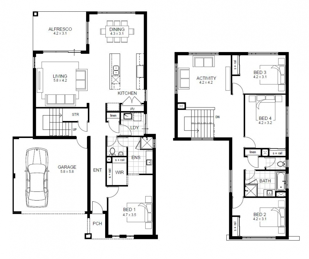 House Plans 4 Bedroom 2 Story Home Plans For Entertaining