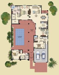 Home Plans With Courtyard Pools - Escortsea