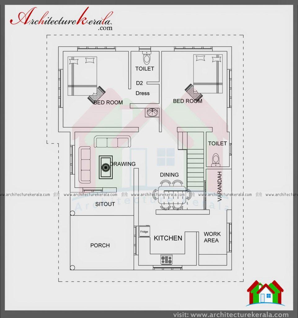 Elegant 2 Bedroom House Plans Kerala Style 1200 Sq Feet
