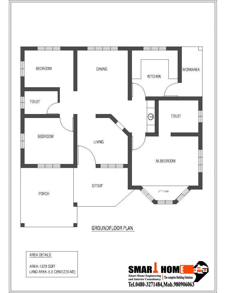 2 Bedroom Kerala House Plans Free Unique 1320 Sqft Style 3