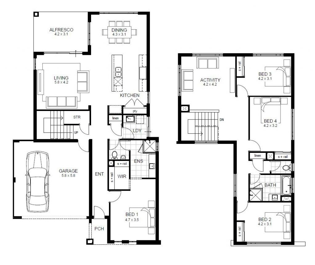 Lovely 2 Story 4 Bedroom House Floor Plans