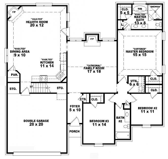 1 story 3 bedroom 2 bath house plans for 2 story bedroom ideas