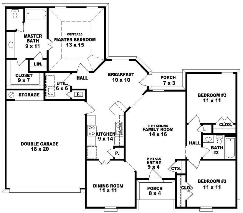 Cool 3 Bedroom House Plans One Story  New Home Plans Design