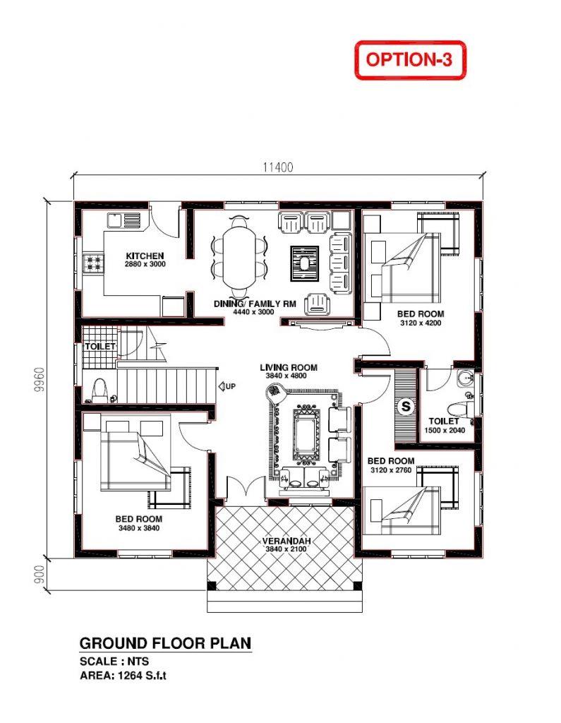 Elegant Kerala Model 3 Bedroom House Plans