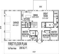 Contemporary Ranch Home Plan 2000 Sq Ft