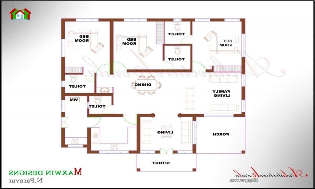 Unique Single Floor 4 Bedroom House Plans Kerala  New