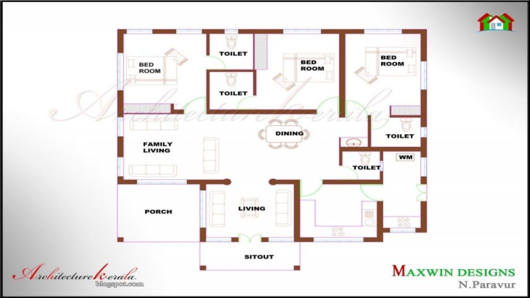 Bedroom House Plans Kerala Model In Single Floor Architecture Bhk Story With Garage Two Master On