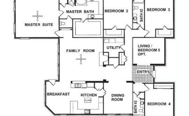 Beautiful 1 Story 4 Bedroom House Floor Plans New Home