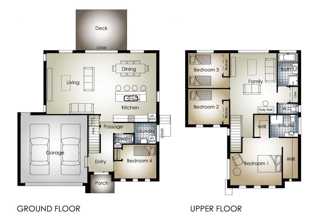 Cool Two Story Three Bedroom House Plans  New Home Plans