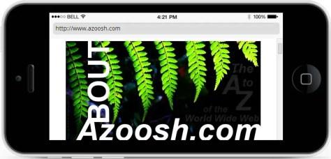 Black new iphone5 simulator screen shot test about Azoosh.com website green tree fern leaves