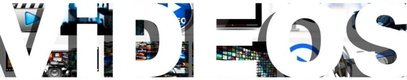 Videos header banner cover images bold white type letters heading