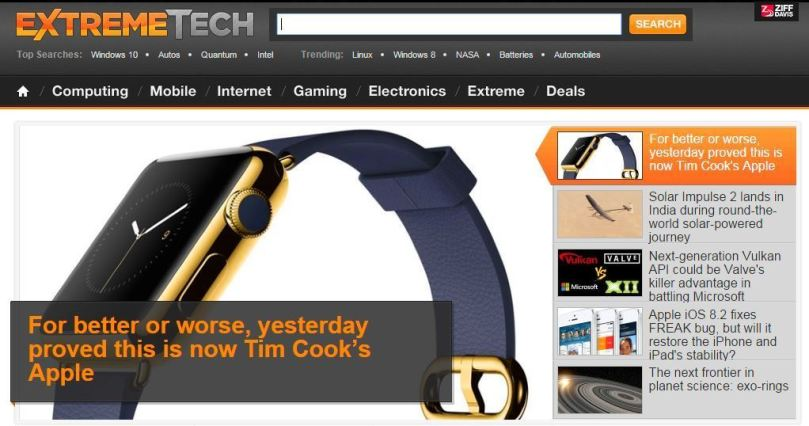 ExtremeTech.com official website screenshot Apple smart watch story technology 2015