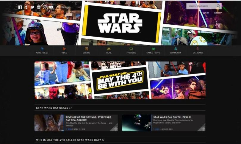 Starwars.com official website Star Wars Day page May 4th 2015 screenshot fans kids costume photos