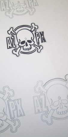 Top art draft 1. I wanted the top graphic to look all sharpied out and quickly drawn. Do you think I can draw my own skull from scratch? Heck no! I printed out a few line drawings of it and just traced it with the sharpie and left the remaining lines and ran with it. Looks like shit and that's how I wanted it.