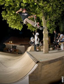 Rad is rad because he will use everything available to skate. Fakie Footplant off the Tree at Chuck Browne's ramp oasis. Photo: MRZ