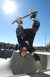 Prescott - November 12, 2005Courier/Nathaniel KastelicTom Conley along with others made the trip from Phoenix to skate the grand opening of the Ken Lindley Skate Park. Conley lands a hand-plant in one of the bowls Saturday morning.