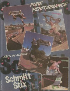 Schmitt Stix giving the up and coming sponsored am's on their team some props...I see Chuck Hults blasting one at Sellers old ramp in Mesa. You were almost guaranteed to see some pro's if you went out to that ramp. Had some great times there...