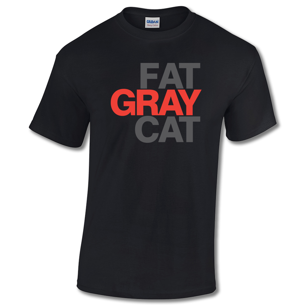 Fat Gray Cat T-shirt Black
