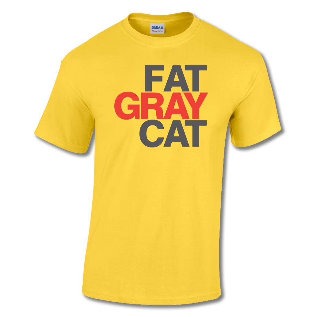Fat Gray Cat T-shirt Yellow