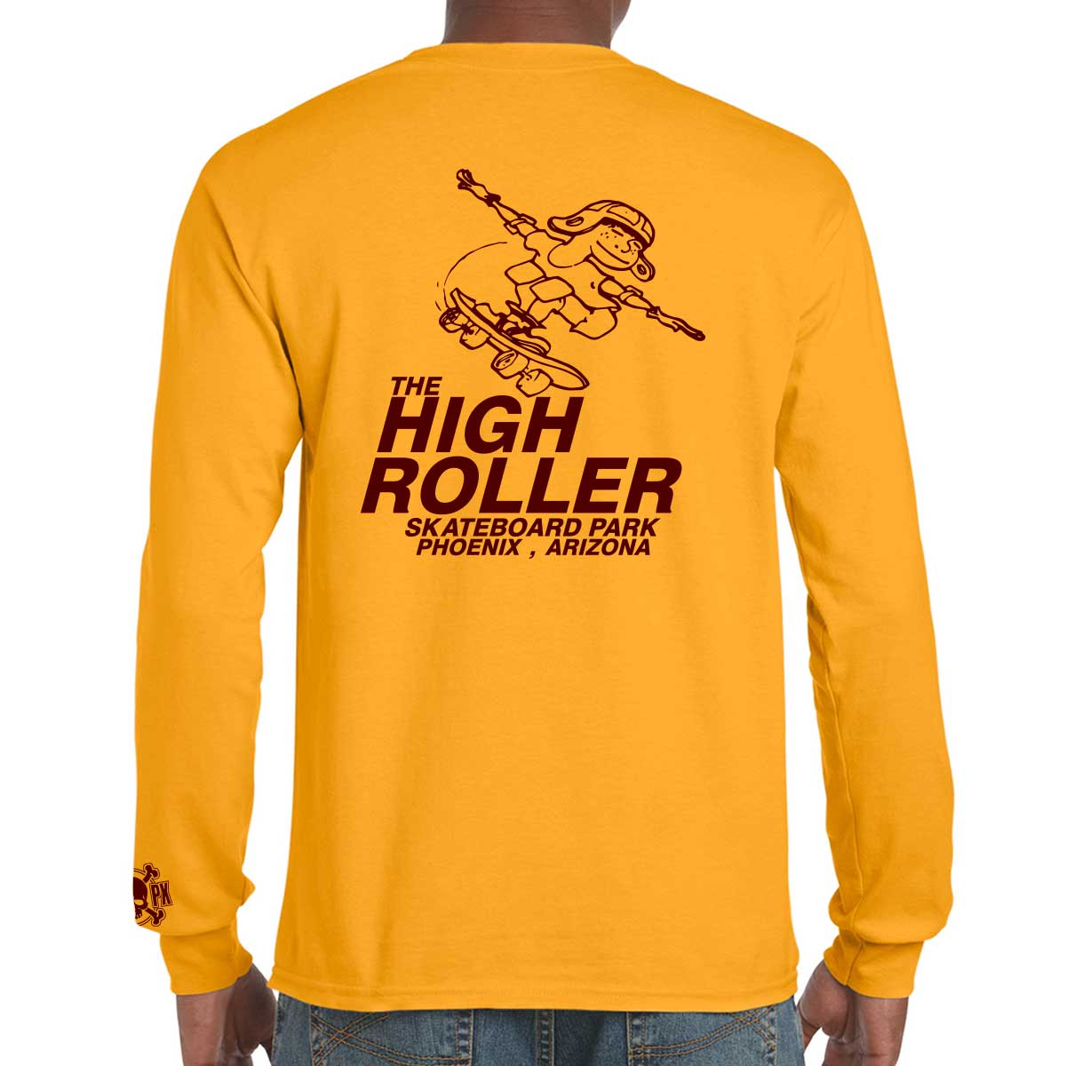 The High Roller Skateboard Park Gold Long Sleeve T-shirt