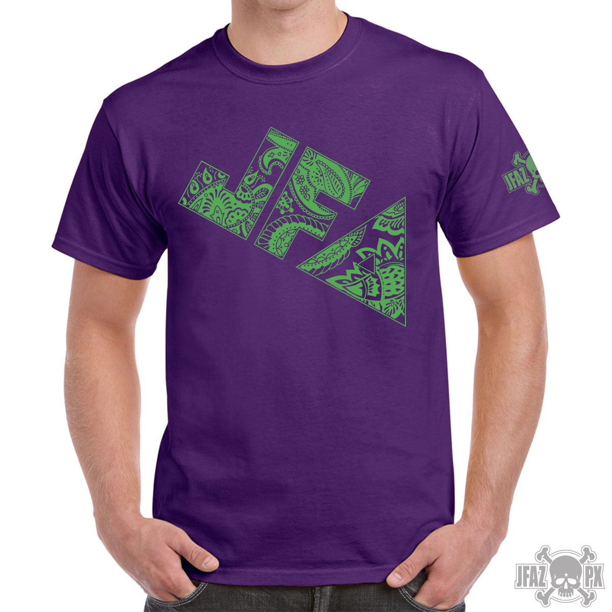 JFA Paisley – Green on Purple T-shirt