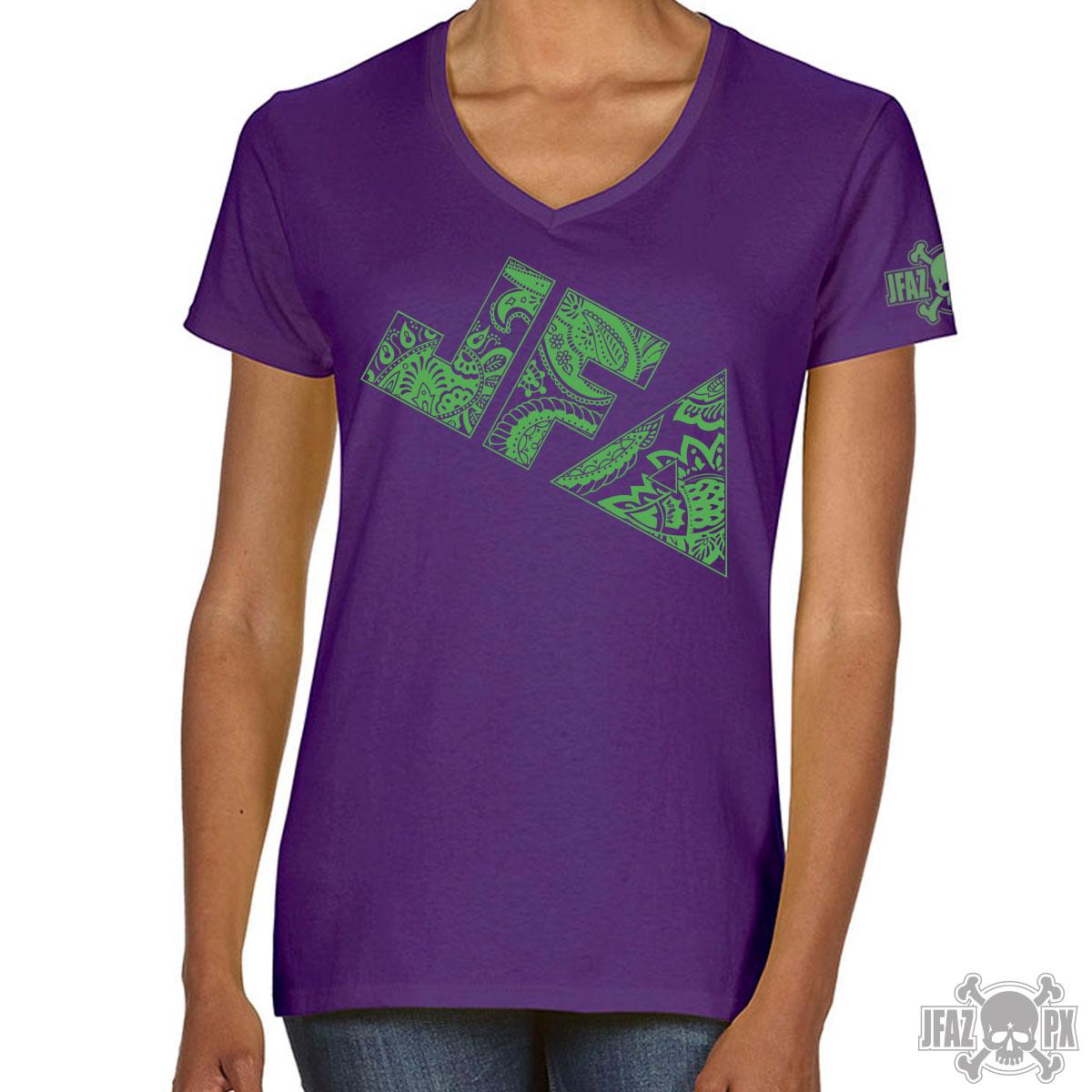 JFA Paisley – Green on Purple Ladies V-neck