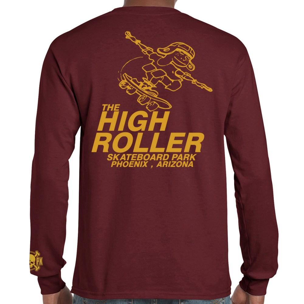 The High Roller Skateboard Park Maroon Long Sleeve T-shirt