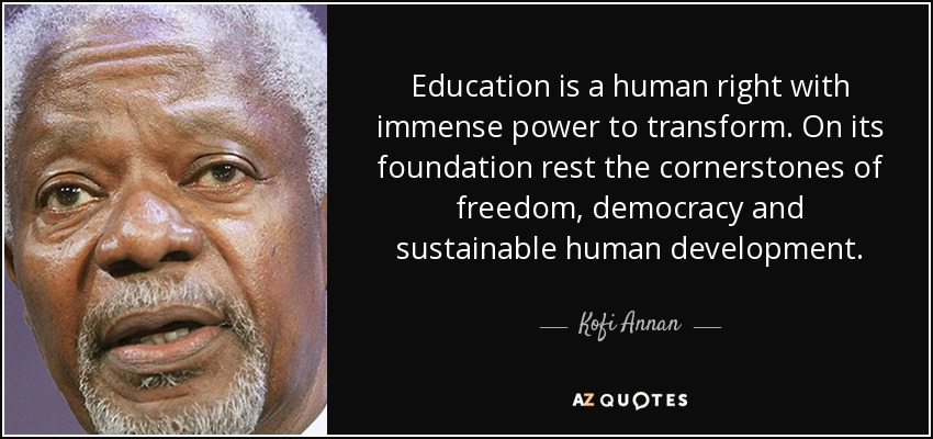 Image result for quote right of education