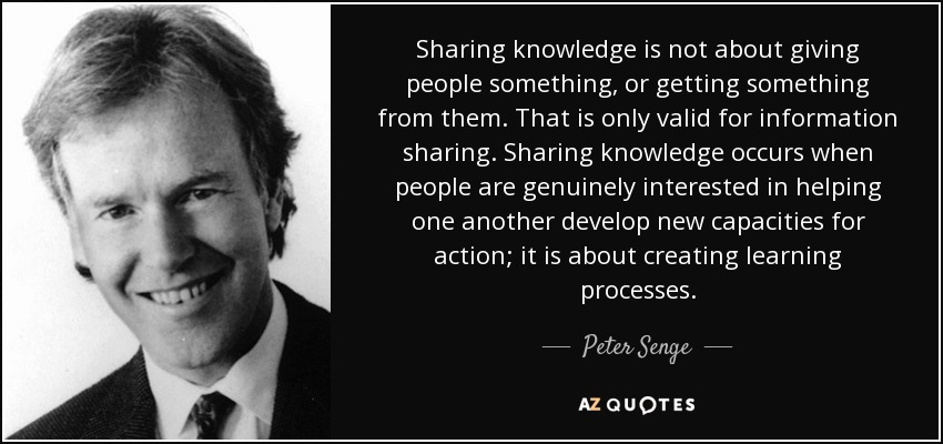 Peter Senge Quote Sharing Knowledge Is Not About Giving People Something Or Getting