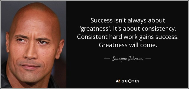 Success isn't always about 'greatness'. It's about consistency. Consistent hard work gains success. Greatness will come. - Dwayne Johnson