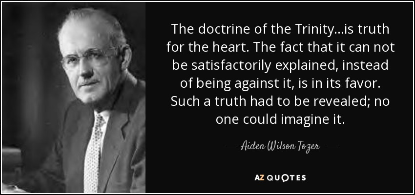 The doctrine of the Trinity...is truth for the heart. The fact that it can not be satisfactorily explained, instead of being against it, is in its favor. Such a truth had to be revealed; no one could imagine it. - Aiden Wilson Tozer