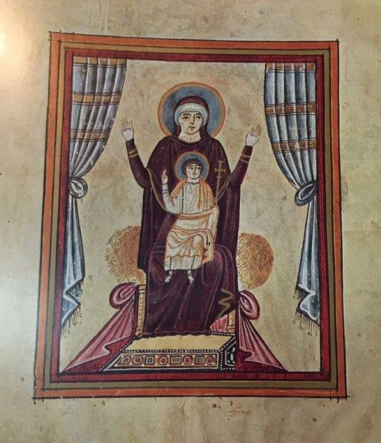 «Աստուածամայրը մանկան հետ», Էջմիածինի Աւետարան, 989 թ.
