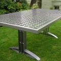 Furniture 187 outdoor table reclaimed steel with powder coat finish