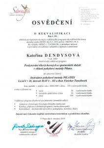 Certifikát rekvalifikace Pilates