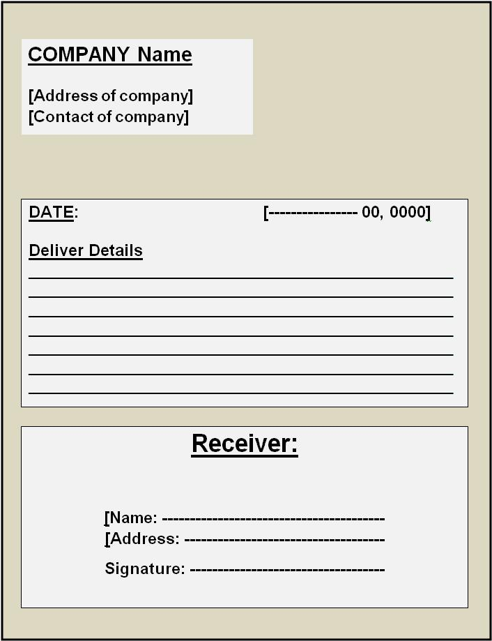Image result for Goods Delivery Receipt Template