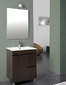 Conjunto de mueble, lavabo y espejo para el baño 60 cm en oferta