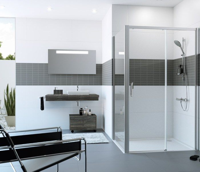 Mampara de ducha azulejos pe a for Mampara ducha sin perfil